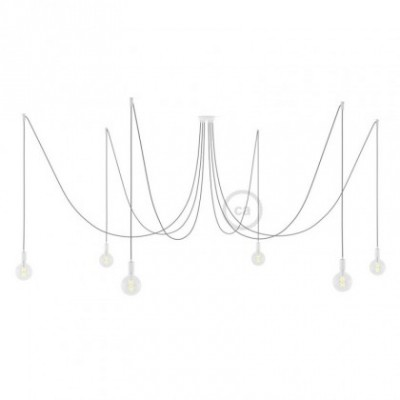 Spider, multiple suspension with 6 pendants, white metal, RN02 Grey cable, Made in Italy.
