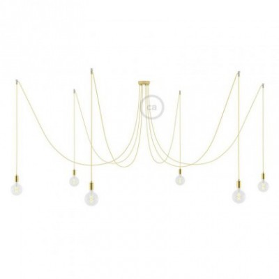 Spider, multiple suspension with 6 pendants, brass metal, RR13 Brass coloured Copper cable, Made in Italy.