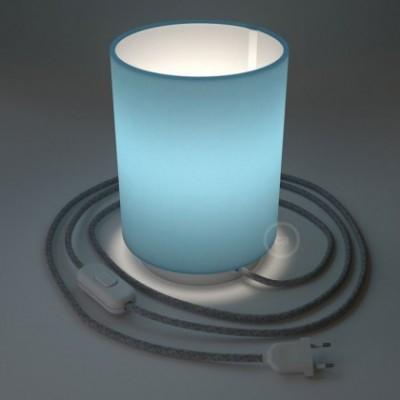 Posaluce in metallo bianco con paralume Cilindro Teletta Celeste, cavo tessile, interruttore e spina a due poli