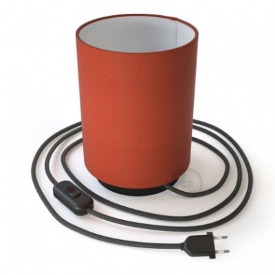 Posaluce with Lobster Cinette Cylinder lampshade, black metal, with textile cable, in-line switch and 2 poles plug