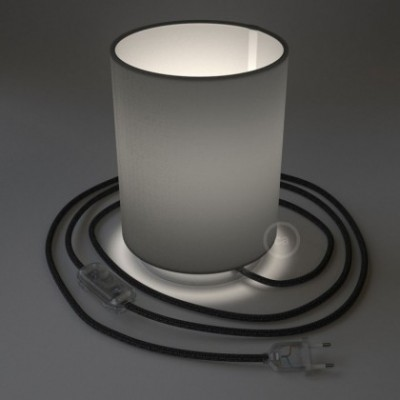 Posaluce with Penguin Electra Cylinder lampshade, chrome metal, with textile cable, in-line switch and 2 poles plug