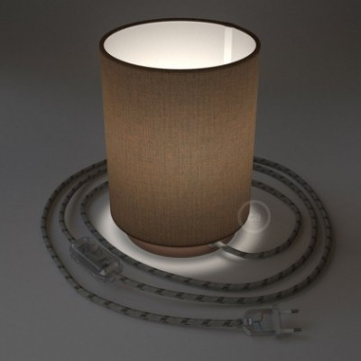 Posaluce with Brown Camelot Cylinder lampshade, coppered metal, with textile cable, in-line switch and 2 poles plug