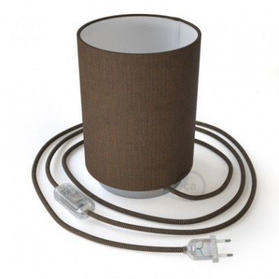 Posaluce with Brown Camelot Cylinder lampshade, chrome metal, with textile cable, in-line switch and 2 poles plug