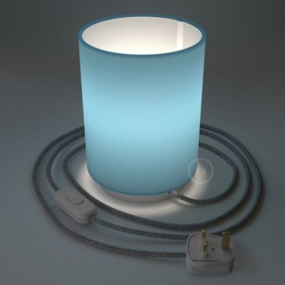 Posaluce with Blue Canvas Cylinder lampshade, white metal, with textile cable, in-line switch and english plug