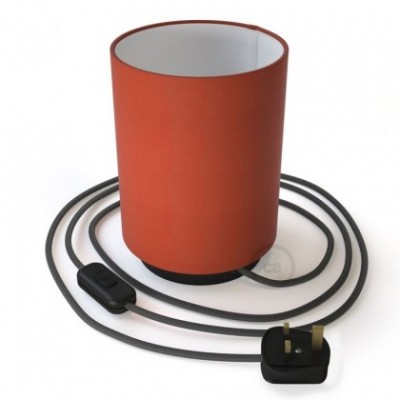 Posaluce with Lobster Cinette Cylinder lampshade, black metal, with textile cable, in-line switch and english plug
