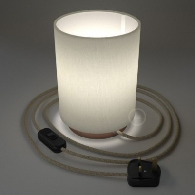 Posaluce with White Raw Cotton Cylinder lampshade, coppered metal, with textile cable, in-line switch and english plug