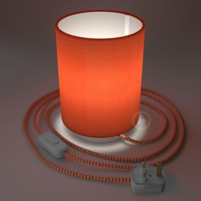 Posaluce with Lobster Cinette Cylinder lampshade, white metal, with textile cable, in-line switch and english plug
