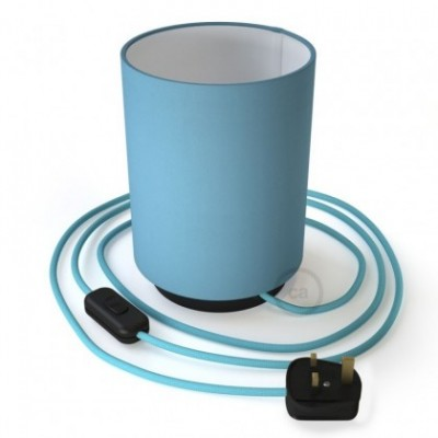 Posaluce with Blue Canvas Cylinder lampshade, black metal, with textile cable, in-line switch and english plug
