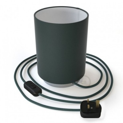 Posaluce with Petrol Blue Cinette Cylinder lampshade, chrome metal, with textile cable, in-line switch and english plug