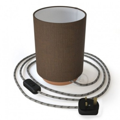 Posaluce with Brown Camelot Cylinder lampshade, coppered metal, with textile cable, in-line switch and english plug