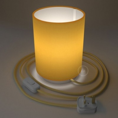 Posaluce with Bright Yellow Canvas Cylinder lampshade, white metal, with textile cable, in-line switch and english plug