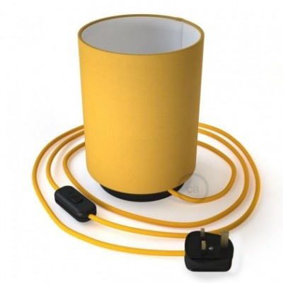 Posaluce with Bright Yellow Canvas Cylinder lampshade, black metal, with textile cable, in-line switch and english plug