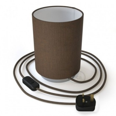 Posaluce with Brown Camelot Cylinder lampshade, chrome metal, with textile cable, in-line switch and english plug