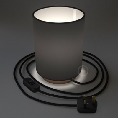 Posaluce with Black Canvas Cylinder lampshade, coppered metal, with textile cable, in-line switch and english plug