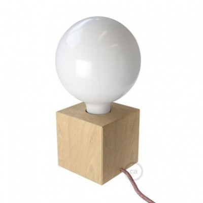 Posaluce Cubetto, the natural wood table lamp, with textile cable, in-line switch and 2 poles plug