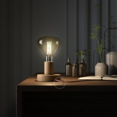 Posaluce Natural, the 9,7 cm natural wood table lamp, with textile cable, in-line switch and english plug