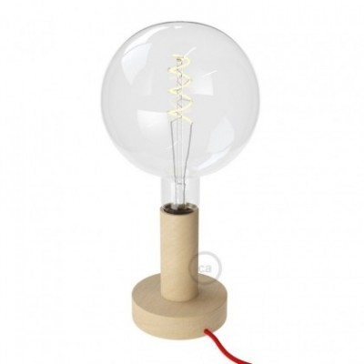 Posaluce Natural, the 14,2 cm natural wood table lamp, with textile cable, in-line switch and english plug