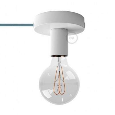 Spostaluce, the white metal light source with fabric cable and side holes