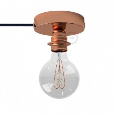 Spostaluce, the coppered metal light source with E27 threaded lamp holder, fabric cable and side holes