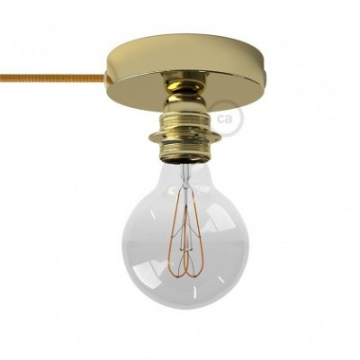 Spostaluce, the brass metal light source with E27 threaded lamp holder, fabric cable and side holes