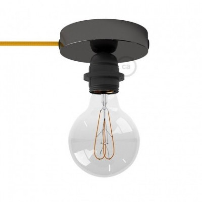 Spostaluce, the black pearl light source with E27 threaded lamp holder, fabric cable and side holes