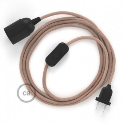 SnakeBis wiring with lamp holder and fabric cable - ZigZag Ancient Pink RD71