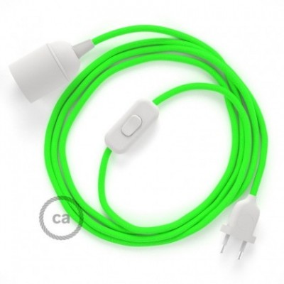 SnakeBis wiring with lamp holder and fabric cable - Green Fluo RF06