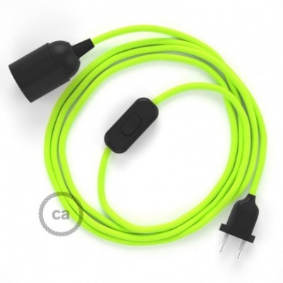 SnakeBis wiring with lamp holder and fabric cable - Yellow Fluo RF10