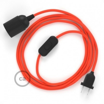 SnakeBis wiring with lamp holder and fabric cable - Orange Fluo RF15