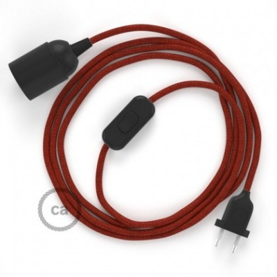 SnakeBis wiring with lamp holder and fabric cable - Glittering Red RL09