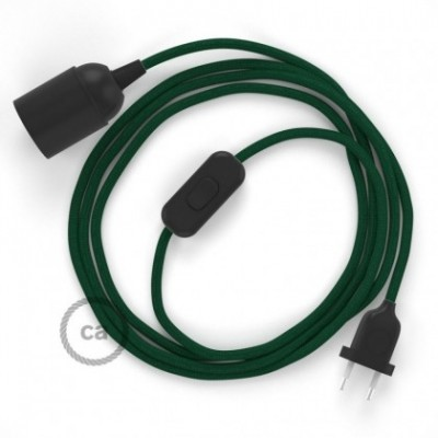 SnakeBis wiring with lamp holder and fabric cable - Dark Green Rayon RM21