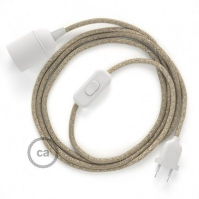SnakeBis wiring with lamp holder and fabric cable - Neutral Natural Linen RN01
