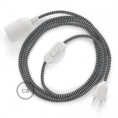 SnakeBis wiring with lamp holder and fabric cable - ZigZag Black RZ04