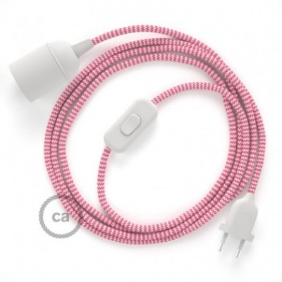 SnakeBis wiring with lamp holder and fabric cable - ZigZag Fuchsia RZ08