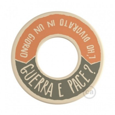 MINI-UFO: reversible wooden disk READING BALLSH*T collection, subject GUERRA E PACE + MEGLIO DEL FILM