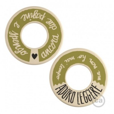 MINI-UFO: reversible wooden disk READING BALLSH*T collection, subject ADORO LEGGERE + DUE PAGINE