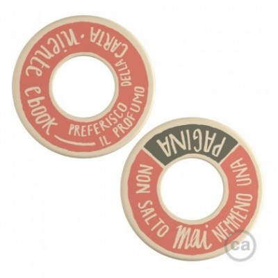 MINI-UFO: reversible wooden disk READING BALLSH*T collection, subject PAGINA + PROFUMO DELLA CARTA