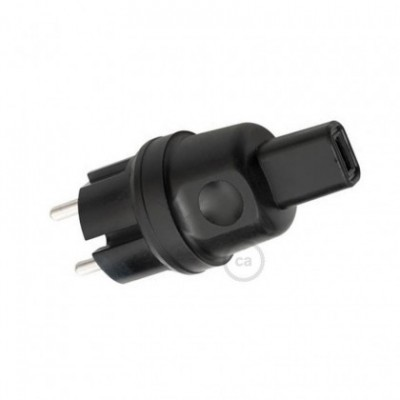 Black French-German Plug for String Lights
