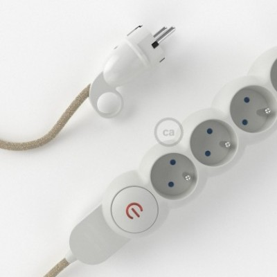 French Power Strip with electrical cable covered in Neutral Natural Linen fabric RN01 and Schuko plug with confort ring