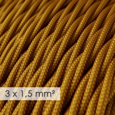 Large section electric cable 3x1,50 twisted - covered by rayon Gold TM05