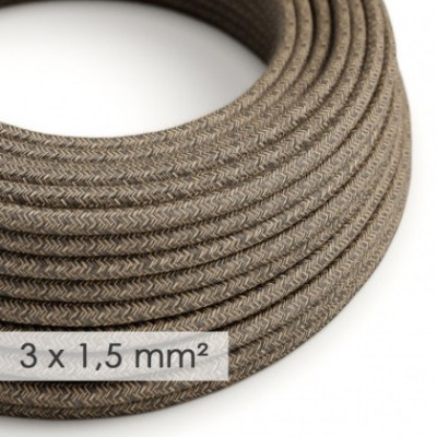 Large section electric cable 3x1,50 round - covered by Natural Brown Linen RN04