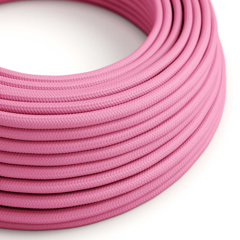 Round Electric Cable covered by Rayon solid color fabric RM08 Fuchsia