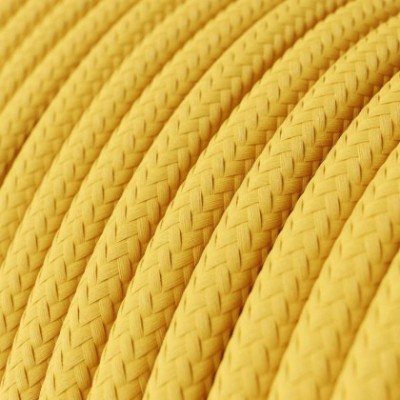 Round Electric Cable covered by Rayon solid color fabric RM10 Yellow