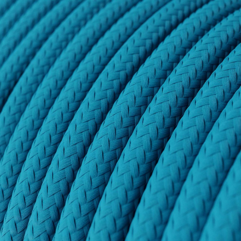 Round Electric Cable covered by Rayon solid color fabric RM11 Turquoise