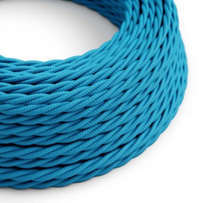 Twisted Electric Cable covered by Rayon solid color fabric TM11 Turquoise