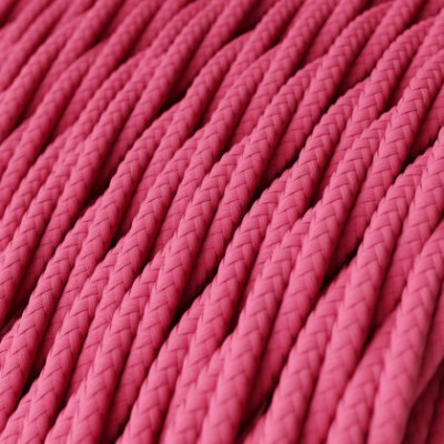 Twisted Electric Cable covered by Rayon solid color fabric TM08 Fuchsia