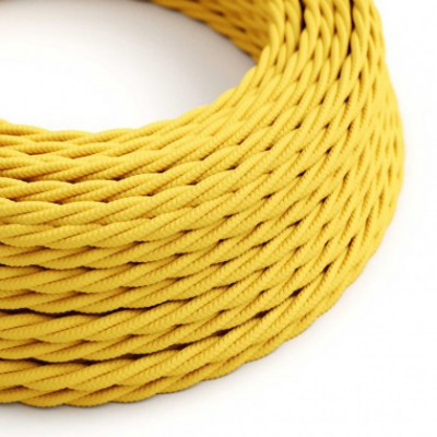 Twisted Electric Cable covered by Rayon solid color fabric TM10 Yellow