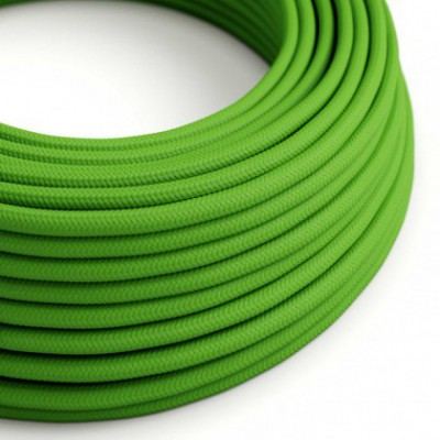 Round Electric Cable covered by Rayon solid color fabric RM18 Green Lime