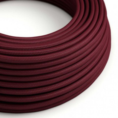 Round Electric Cable covered by Rayon solid color fabric RM19 Burgundy