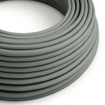 Round Electric Cable covered by Rayon solid color fabric RM03 Grey